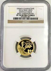 2014 GOLD NIUE DONALD DUCK NGC PROOF 70 ULTRA CAMEO $25 DISNEY 1/4 OZ COIN