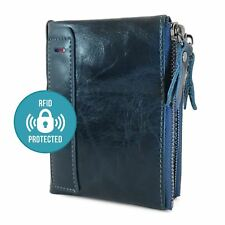 Mens Blue 100% Genuine Soft Leather Wallet Card Holder with Zip RFID Protection