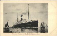 Holland America Line Twin Screw Steamer Ship c1905 Postcard