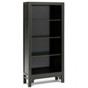 Made to Order Golden Dragon Oriental Painted Solid Wood Black Large Bookshelf