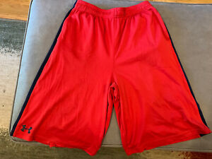 Under Armour Shorts With Pockets Red With Dark Blue Side stripes Boys XL Used