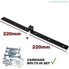 220 + 220mm Black Hasp Locking Security Bar Van Gate Garage Door Heavy Duty STR