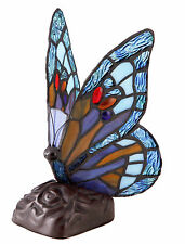 REAL STAINED GLASS BUTTERFLY TIFFANY TABLE LAMP MULTICOLOUR - HEAVY BASE