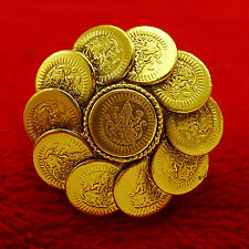Gold Plated Traditional Women Wedding Party Adjustable Ginni Coin Ring Jewellery