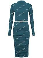 Women Celeb Kim Two Piece Suit Polo High Neck Crop Top Midi Skirt Ladies Outfit