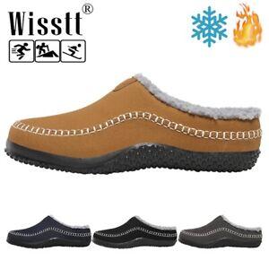 Men's Winter Indoor Outdoor Slippers Warm Fur Slip on Mules Bedroom House Shoes