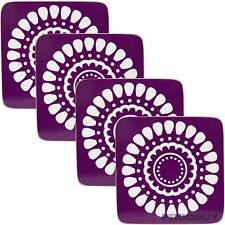 4 x Purple Drinks Coasters Floral Surface Protector Desk Table Coffee Tea Cup