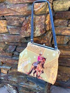 Western Cowgirl Purse, Horse and Rhinestones, Handle, Inside Pockets