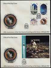 Nevis 586-90 on FDC's - Moon landing, Apollo 12, Rocket
