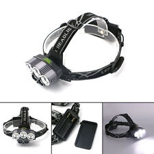 60000LM Lumen White 5 LED USB Rechargeable 18650 Straight Headlight Torch Lights