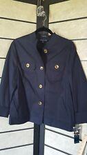 Women's XL Jones New York Signature NAVY BLUE Stretch BUTTON FRONT Jacket NWT