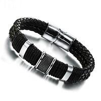 Bracelet pour homme en acier inoxydable et cuir tissé noir 21 ou 19 cm