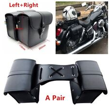 A Pair Motorcycle Saddle Bag Bike Side Storage Fork Tool Pouch For Harley LM