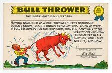 Plastichrome Funny Comic POSTCARD Bull Thrower - (Tall Tale Teller) Bullshit