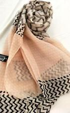 NEW Scarf French Inspired design. Peach, Grey and black on Cream background