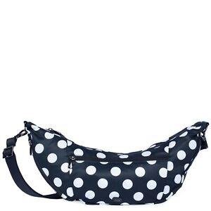 New Lug Travel BOOMERANG Sling Crossbody Bag Convertible BLACK LARGE DOT gift