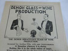 1950s Magic Tricks 4 page pamphlet . Demon Glass Of Wine