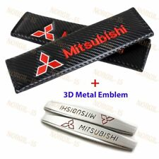 Carbon Fiber Red Seat Belt Cover Shoulder Pads + 3D Metal Emblem for Mitsubishi