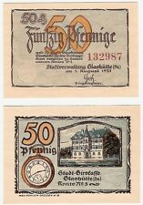 Germany 50 Pfennig 1921 Notgeld Glashutte UNC Uncirculated Banknote - Watch