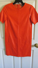 SZ M Vince Perforated Persimmon Orange Lamb Leather Shift Dress NWT $1150