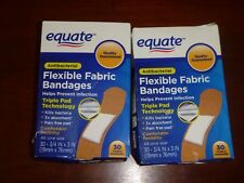 """EQUATE Antibacterial Flexible Fabric Bandages Band Aids First Aid 60 ct 3/4"""" x 3"""