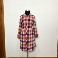 Modcloth Size 24 Purple Orange Plaid Flannel Shirt Dress Long Sleeve Pockets!