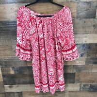 Umgee Women's Red White Floral Paisley Off Shoulder Ruffle Flare Sleeve Tunic