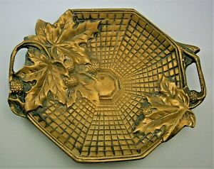 Cast Bronze Footed Tray with Holly & Linear Decoration from the early 1900's