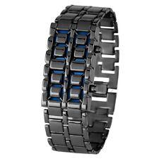 Fashion Black Silver Full Metal Digital Lava Wristwatch Men Red/Blue LED Display