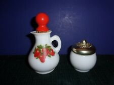 2 Vintage Avon Bottles -Mini Glass Pitcher W Strawberries & Avon Baroque Jar