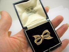 Oro 15ct Victoriano Real Perla Colgante Con Broche Pin en Caja Original