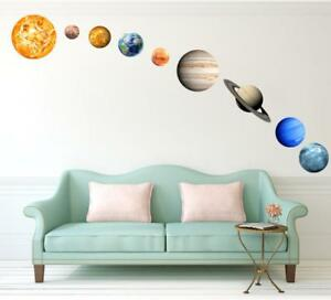 Glow In The Dark Solar System Wall Stickers 9 Planets Mars Kids Room Decal Decor