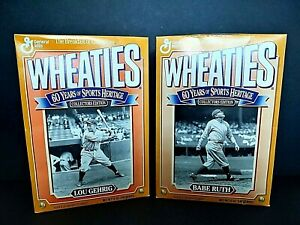 2 Wheaties Boxes ~ Lou Gehrig & Babe Ruth ~ 60 Years of Sports ~ Flat