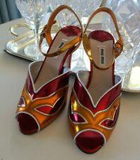 MIU MIU Metallic Maroon Orange Gold Peep Toe Masquerade Heels Shoes 4 38 NEW