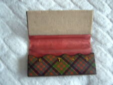 TARTAN WARE NEEDLE PACKET HOLDER 6-9 - RARE CLAN RONALD TARTAN - LEATHER SPINE