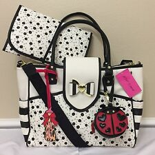 $158 BETSEY JOHNSON Weekender SPOT DOT Flap Baby Diaper Bag Tote LADYBUG Travel