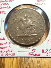 1852 Bank Of Upper Canada One Penny Token Large 2 W/Die Cracks Coin Fine #AA513