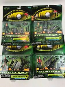 Lot of 4 1998 Godzilla Action Figures by Trendmasters New In Original Packaging!