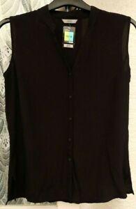 ( Ref 5735 ) Marks & Spencer - Size 12/14 - Black Sleeveless Blouse / Top BNWT