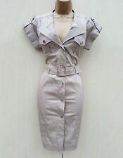Size 12 UK KAREN MILLEN Beige Safari Military Trench Office Shirt Style Dress