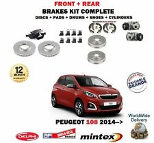 FOR PEUGEOT 108 2014-> BRAKE DISCS + PADS + DRUMS + SHOES WHEEL CYLINDER SET KIT