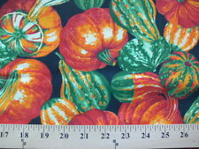 *BTY* Simplistic Fall Pumpkins and Gourds on Black Fabric material autumn