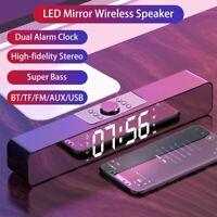 Bluetooth 5.0 TV Sound Bar Bass Wireless Speaker Dual Alarm Clock Mirror Screen