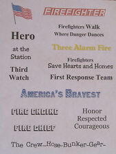 FIREFIGHTER Words and Phrases on Vellum Paper