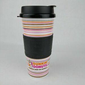 Dunkin Donuts America Runs Striped Travel Mug w/Rubber Grip 16 oz Whirley 2014