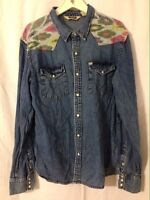 Salt Valley Denim Western Shirt XL Southwest/Aztec Trim, Pearl Style Snaps