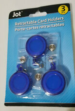 3 Pack BLUE Retractable ID Badge Clip Key Card Holder Office Carabiner Style