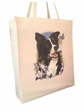 Border Collie (c) Cotton Shopping Tote Bag with Gusset and Long Handles
