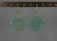 Dark Teal bronze earrings dangle filigree medallion cut out circle lightweight
