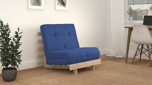 SINGLE 2FT6 LUXURY FUTON SOFA BED - Wooden Frame with Mattress 12 COLOURS